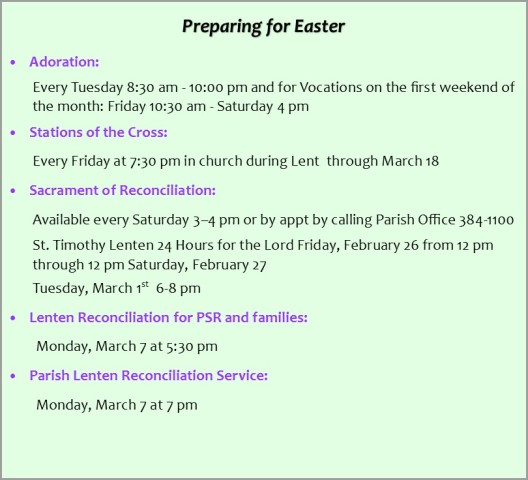 Easter 2016 reconciliation schedule